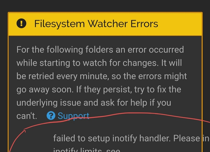failed to set up inotify handler  please increase inotify limits