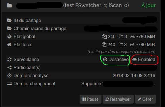 fsWatcher status GUI feedback